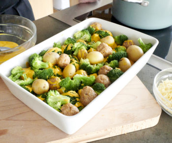 WW: Gratin van kippenballetjes met broccoli en krieltjes