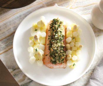 Mowi zalm met asperges & nieuwe aardappeltjes Would Be Chef Sven Ornelis5